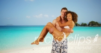 Attractive couple having fun in Caribbean coast.