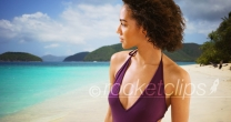 Beautiful black woman standing on tropical Virgin Island